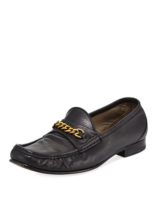 Maje Chain-Link Leather Loafers