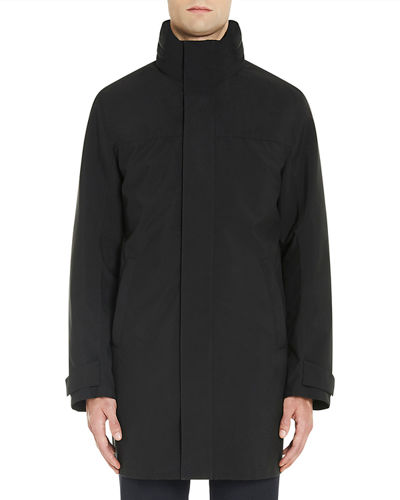 Stand-Collar Rain Coat w/Removable Hood