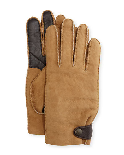 Men's Suede & Leather Smart Gloves