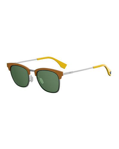 Fendi Qbic Men's Half-Rim Square Sunglasses