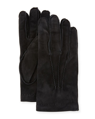 Cashmere-Lined Suede Gloves