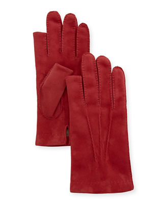 Three-Finger Suede Gloves, Red