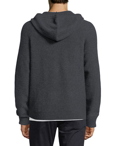 Cashmere Zip-Front Hooded Sweater