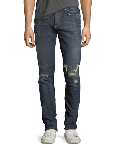 Men's Vaughn Skinny Ankle-Zip Destructed Jeans