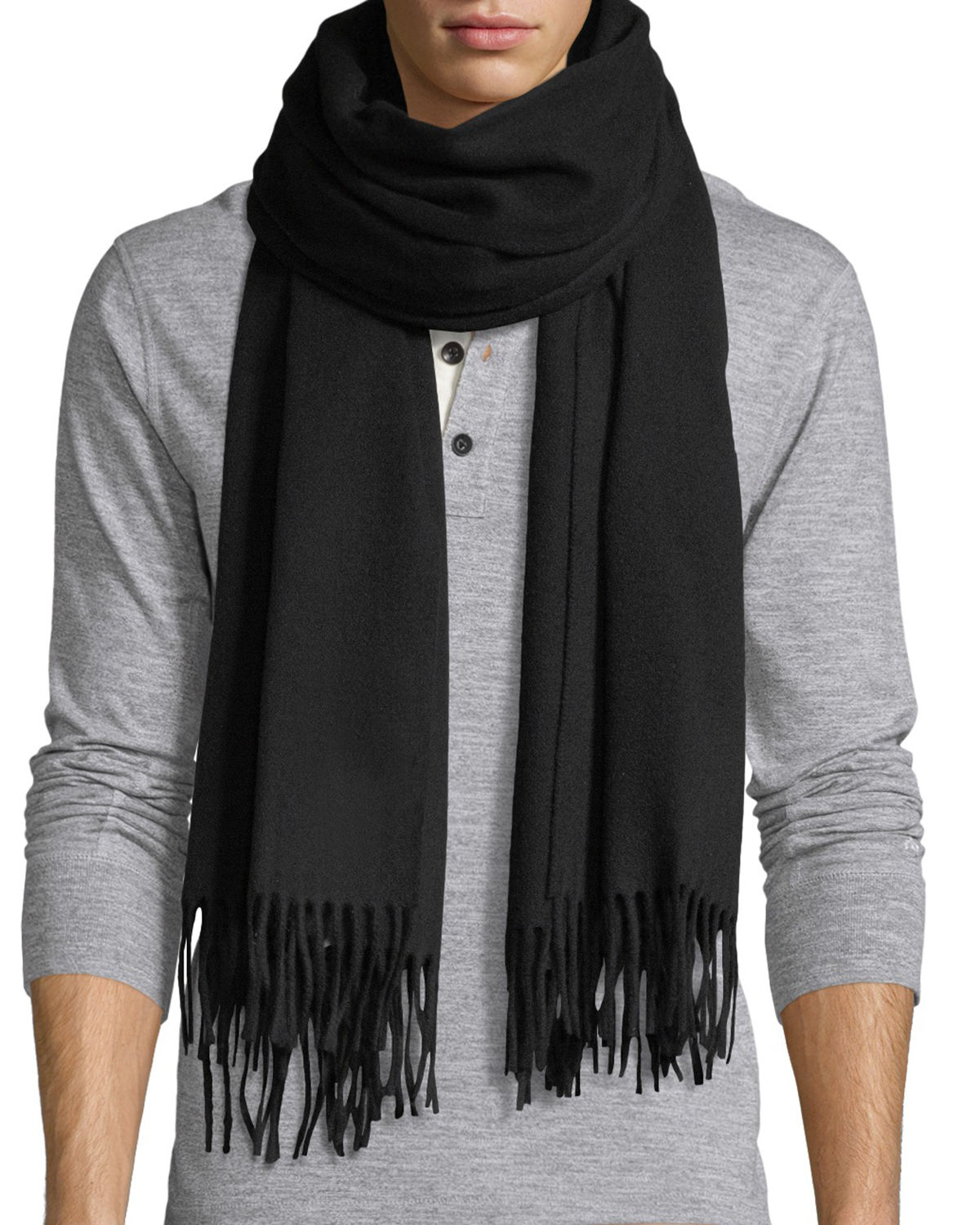 Canada Goose Accessories SOLID WOOL FRINGED-END SCARF