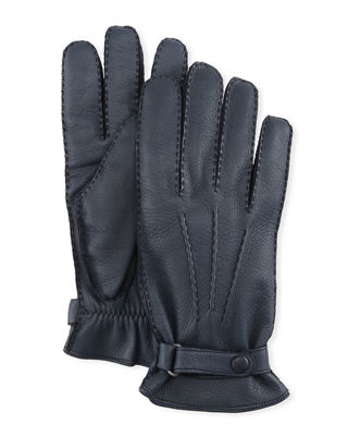 HESTRA GLOVES Winston Snap Leather Cashmere-Lined Gloves in 280 Midnight