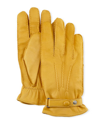 HESTRA GLOVES Winston Snap Leather Cashmere-Lined Gloves in Yellow