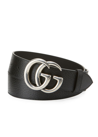 61b41820603 Gucci Men s Leather Belt with Silvertone Double-G Buckle