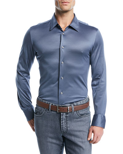 Satin-Finish Long-Sleeve Sport Shirt