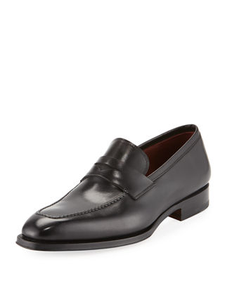 MAGNANNI Apron-Toe Leather Penny Loafer in Black Leather