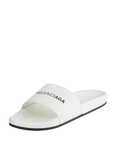 8fef3e38 Balenciaga Men's Logo Pool Slide