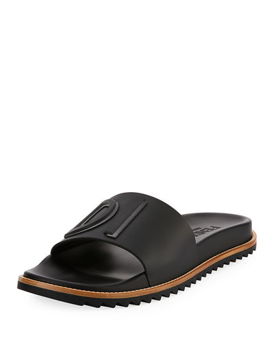 3556c470efe6 Fendi Rubber Slide Sandals w  Raised Logo Detail