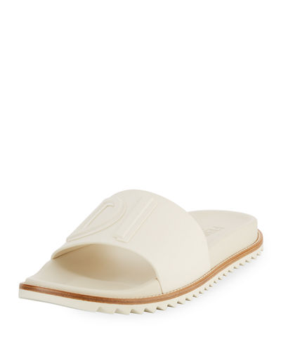 Rubber Slide Sandals w/ Raised Logo Detail