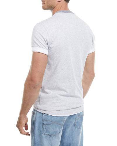 Contrast-Trim Baseball T-Shirt