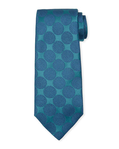 Charvet Adjoining Large-Dot Silk Tie