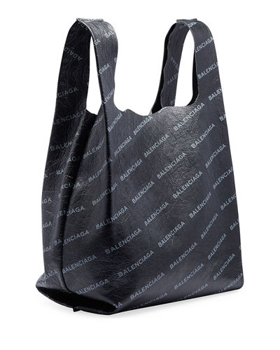 1907472746e Balenciaga Men's Allover Logo-Print Leather Grocery Tote Bag