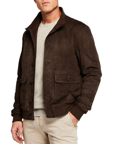 Malcolm Suede Bomber Jacket
