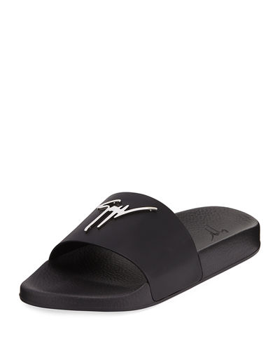 Logo Leather Slide Sandal