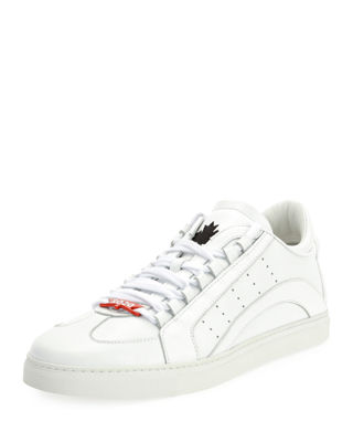 Dsquared2 Mens Stripe Leather Low-Top Sneakers