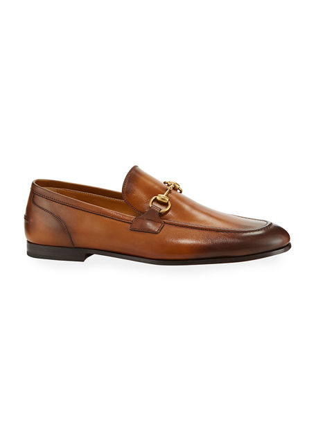 Gucci Jordaan Leather Loafer In Light Brown