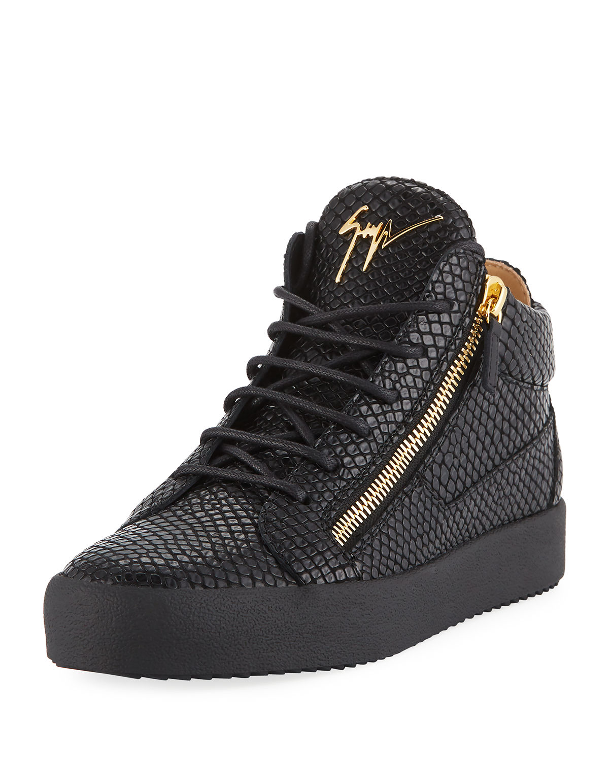 latest discount wholesale best shoes Men's Embossed Leather Mid-Top Sneakers