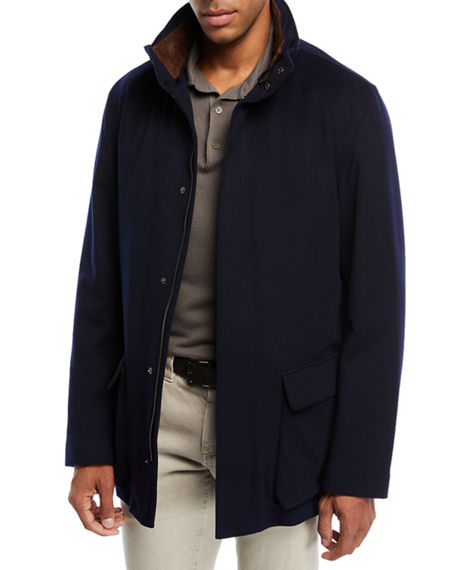 Loro Piana Winter Voyager Cashmere Storm System Coat In Navy