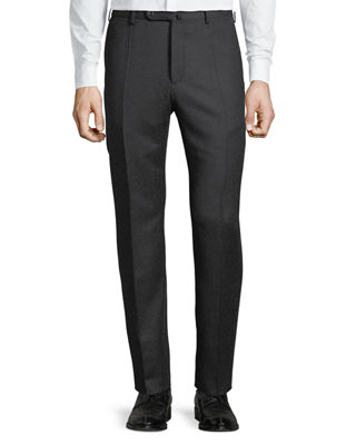 INCOTEX Benson Five-Pocket Standard-Fit Techno Wool Flannel Trousers in Charcoal