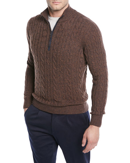 Loro Piana Men's Cashmere Cable-knit Sweater In Brown