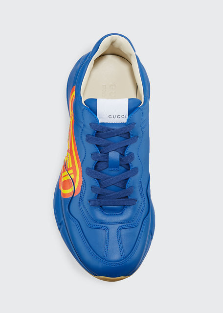 Gucci Rhyton  Print Leather Sneaker In Blue
