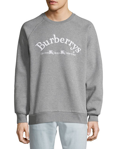 Men's Battarni Embroidered-Logo Jersey Crewneck Sweatshirt