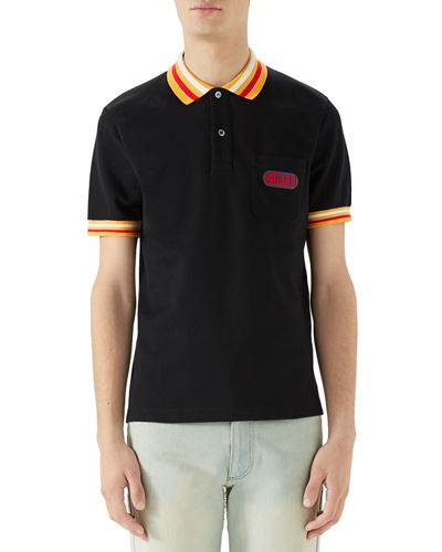 5037ddfb9 Men's Piqué-Knit Polo Shirt with Contrast Color
