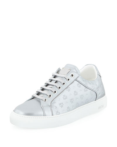 Men's Metallic Logo-Stamped Low-Top Sneakers