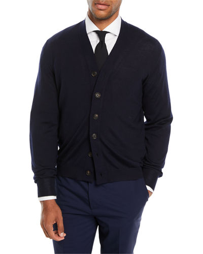 Men's Fine-Gauge Wool-Blend Cardigan