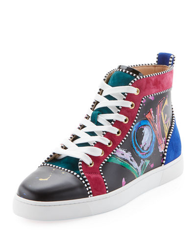 Men's Louis Mid-Top Graphic Leather Sneakers