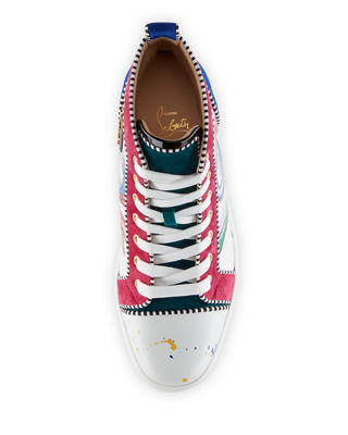 Christian Louboutin Men'S Louis Mid-Top Graphic Leather Sneakers, White Pattern In White/Multi