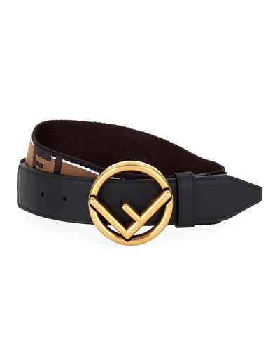 Men's Forever Fendi Reversible Belt with Brass Buckle