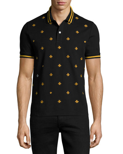 569b7307594 Gucci Men's Bee-Embroidered Polo Shirt