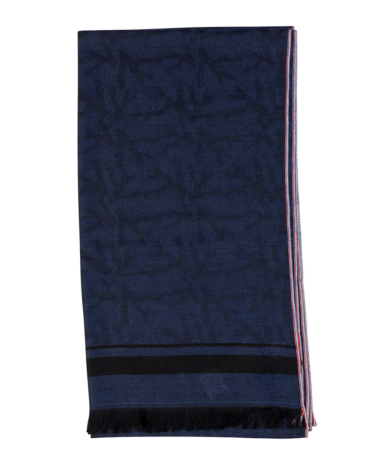 Isaia Accessories MEN'S CASHMERE STRIPED-TRIM SCARF