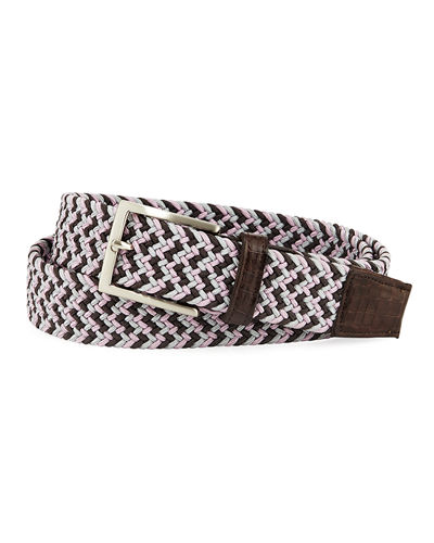 Men's Sport Stretch Belt with Crocodile-Trim
