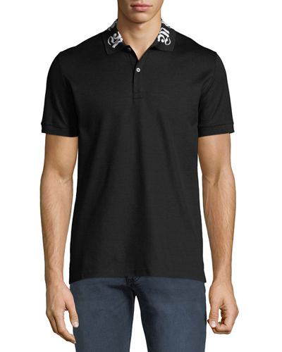 Men's Short-Sleeve Cotton Polo Shirt w/ Signature on Collar