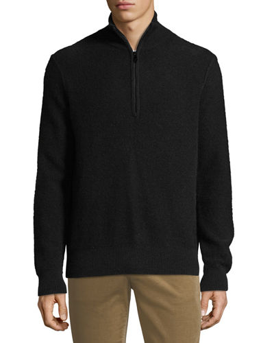 Men's Half-Zip Mock-Neck Cashmere Pullover