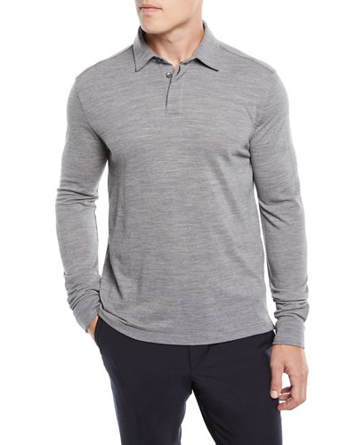 Long-Sleeve Wool Polo Shirt with Logo