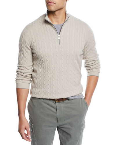 Brunello Cucinelli Men's Cabled Cashmere Quarter-Zip Sweater
