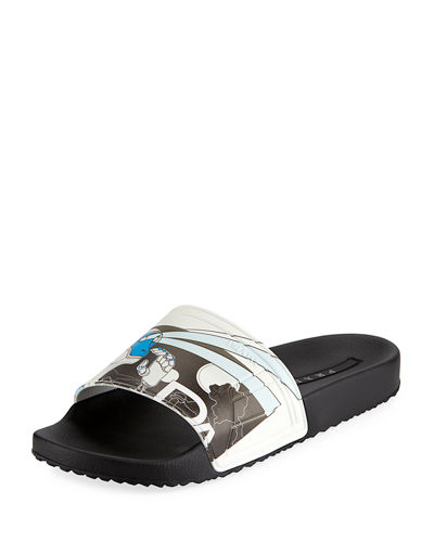 2a0e9d9772b529 Men s Graphic Rubber Slide Sandal