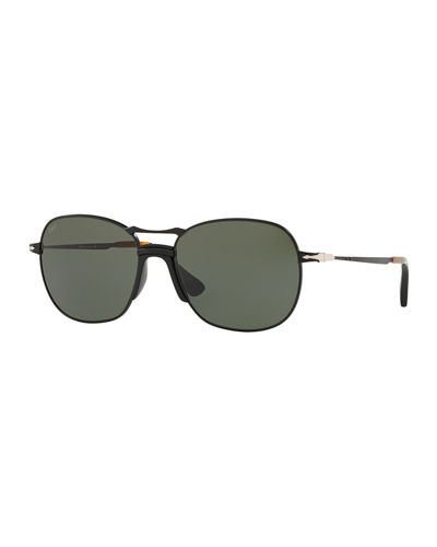 Men's PO2449S Square Aviator Sunglasses w/ Solid Lenses