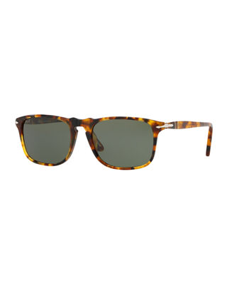 PERSOL Men'S Icons Collection Evolution Square Sunglasses, 54Mm in Brown Pattern