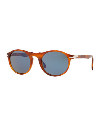 Men's PO3204S Round Acetate Sunglasses