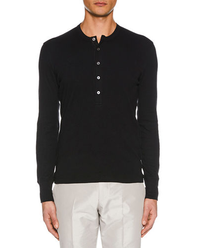 Men's Button-Placket Long-Sleeve Cotton Henley Shirt