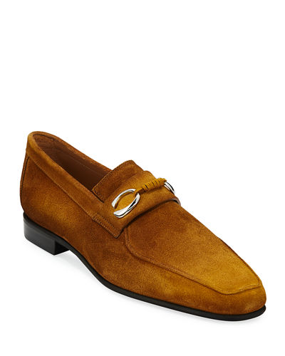 e0c8d478ac6 Corthay Men s Cannes Suede Loafers with Bit Detail