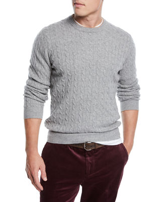 Brunello Cucinelli Mens Cashmere Cable Knit Crewneck Sweater